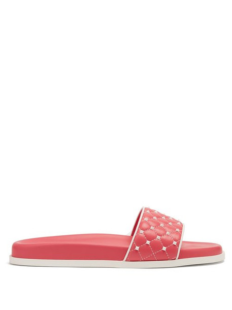 Valentino - Free Rockstud Leather Slides - Womens - Pink White