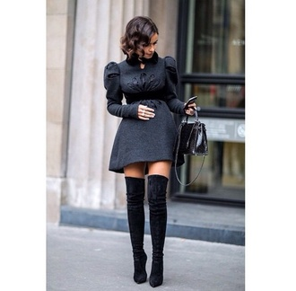 shoes boots knee high boots high heels black dress peplum