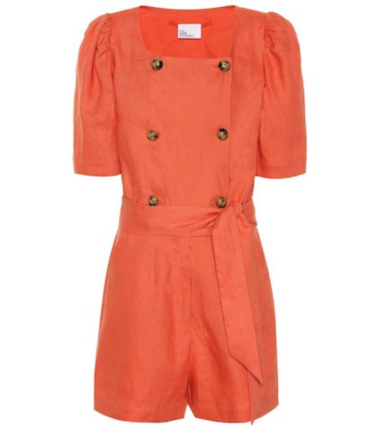 Lisa Marie Fernandez Diana linen playsuit in orange