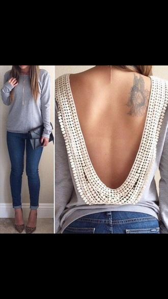 shirt grey sweater lace top grey top