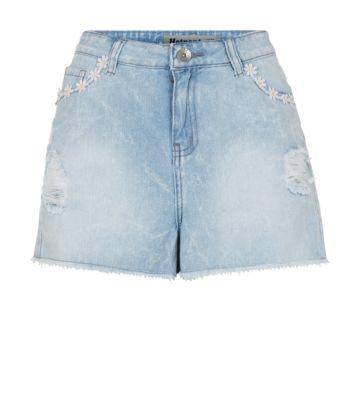 Blue Daisy Trim Denim Shorts
