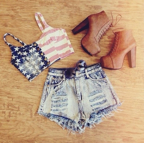 shorts shoes jeffrey campbell crop tops shirt american flag black res white blueflag blue star bustier jean shorts blue jean shorts