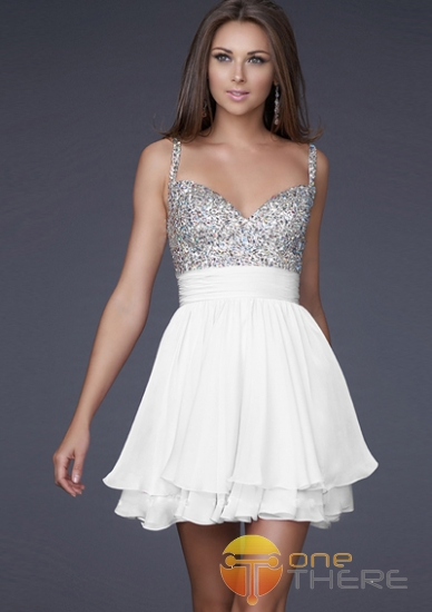 A-line V-neck Shortmini Chiffon White Satin Dress - US$105.00