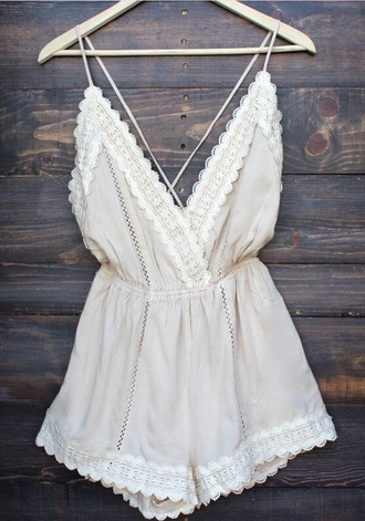 jumpsuit romper boho chic ivory dress white lace dress