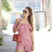 the vogue word,blogger,bag,shoes,romper,red bag,summer outfits,gingham