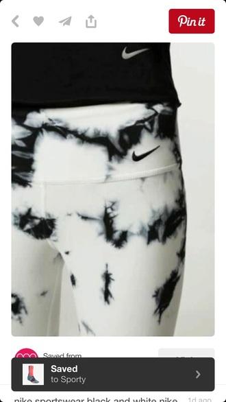 leggings nike black white tie dye