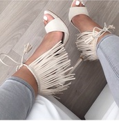 shoes,white,cream,strappy,cute,fringe heels,nude,heels,lace up,nude heels,fringes,white shoes,white high heels,fringe shoes,white sandals,white heels,high heel sandals