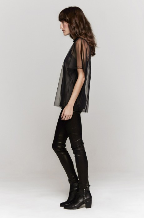 Carven Tulle Solid Blouse In Noir | The Dreslyn