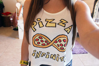 tank top tumblr girl crop tops t-shirt cute pizza forever infinite love summer white red yellow food infinity shirt top tanktop