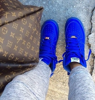 shoes royal blue bag louis vuitton vuitton louis blue nike airforce  1 brown gold holographic