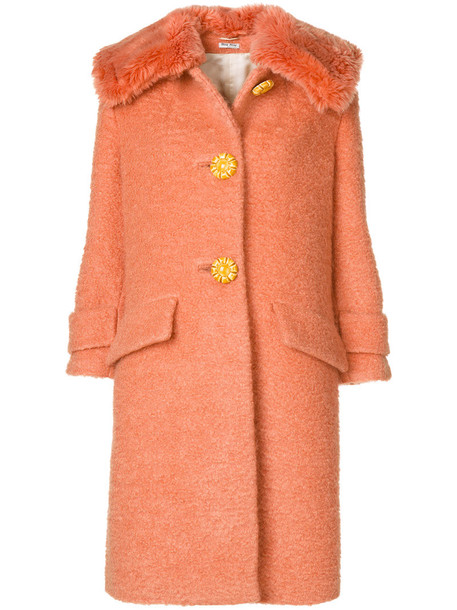 Miu Miu coat women mohair wool yellow orange