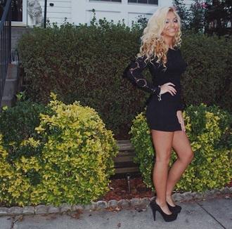 dress black crochet black dress bodycon dress