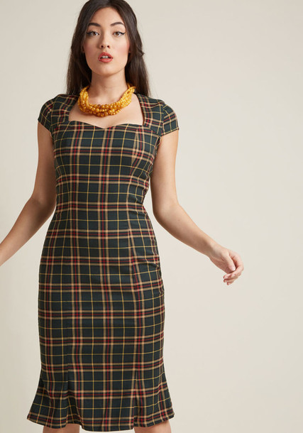 DR5378 dress retro back sweetheart neckline tan plaid green