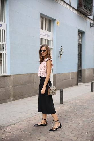 lady addict blogger bag sunglasses jacket pink top lace top gucci gucci bag