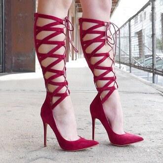 shoes heels red oxblod lace up stilettos pumps gojane criss cross