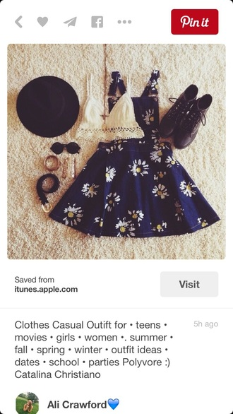 dress summer dress cute dress skater skater dress navy blue dress blue dark daisy floral denim overalls overalls