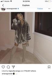 coat,ariana grande,celebrity,jacket,grey,silver,fur,fur jacket,fur coat