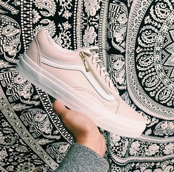 3f246c94ea2257 shoes baby pink pastel vans gold shoes fashion cute low top sneakers