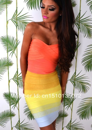 2013 high quality Sunrise Rainbow Strapless Bandage Dress ombre bandage dress hl ladies party evening dress wholesale-in Apparel & Accessories on Aliexpress.com