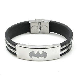 Amazon.com: Hydia Steel Jewelry Batman Stainless Steel Wire Black Rubber Bracelet: Jewelry