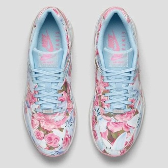 shoes blue nike cute floral