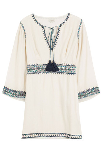 tunic embroidered beige top