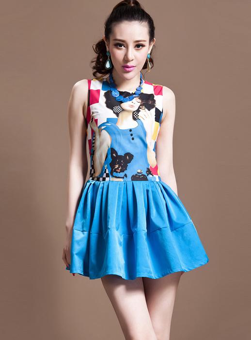 Blue Day Dress - Bqueen Printed Hem Summmer Dress | UsTrendy
