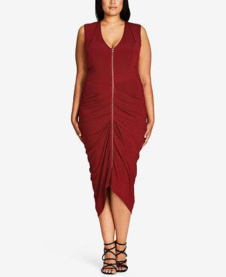 City Chic Trendy Plus Size Zip-Front Dress - Dresses - Plus Sizes - Macy\'s