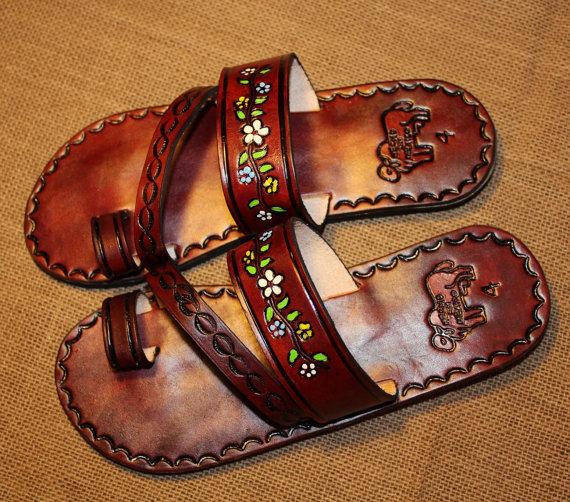 Size 6,7 and 8 US- Flowers Brown Leather Mexican Shoes-Flip Flops-Sandals-Hippie-BOHO- Tribal- Shoes- Summer