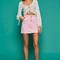 Moto pink half zip denim skirt - pink