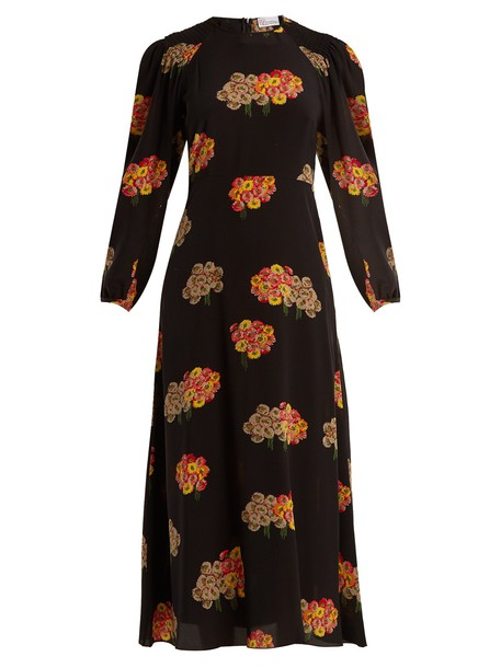 dress midi dress midi floral print silk black