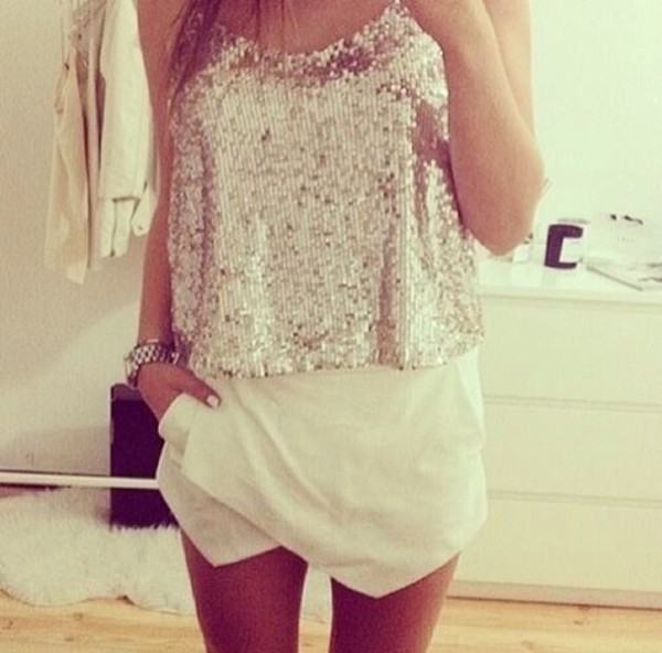 top shorts shirt blouse tank top sequins