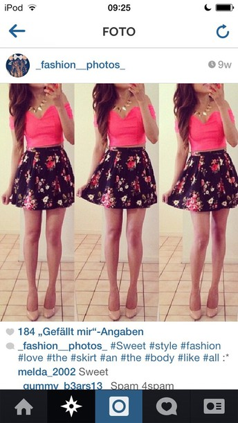skirt roses floral