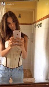 top,corset,bustier,emily ratajkowski,model off-duty,snapchat