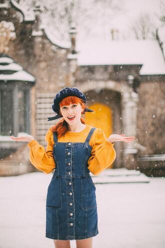 the clothes blogger coat sweater dress denim dress dungarees yellow sweater beret