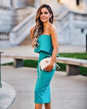 dress,tumblr,teal dress,teal,tube top,midi dress,wedding guest,bag,white bag,gucci,gucci bag,bodycon,bodycon dress,strapless,strapless dress,midi,party dress,sexy dress,sexy party dresses,sexy,party outfits,sexy outfit,summer dress,summer outfits,spring dress,spring outfits,fall dress,fall outfits,classy dress,elegant dress,cocktail dress,cute dress,girly dress,date outfit,birthday dress,clubweaer,clubwear,club dress,graduation dress,homecoming,homecoming dress,wedding clothes,prom,prom dress,short prom dress,engagement party dress,romantic dress,romantic summer dress