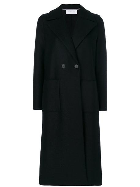 HARRIS WHARF LONDON coat double breasted long women black wool