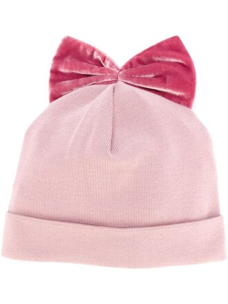 bow beanie velvet purple pink hat