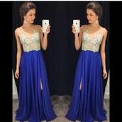 dress,blie,royal blue dress,prom dress,sequins,rhinestones