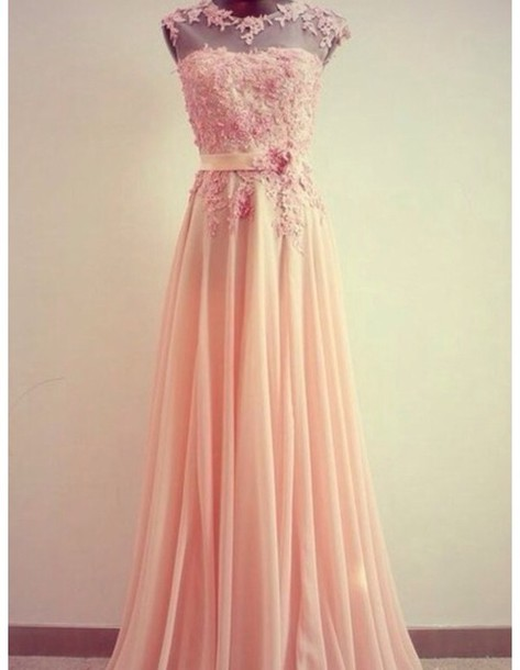 pastel pastel pink print prom dress floral classy prom dress long prom ...