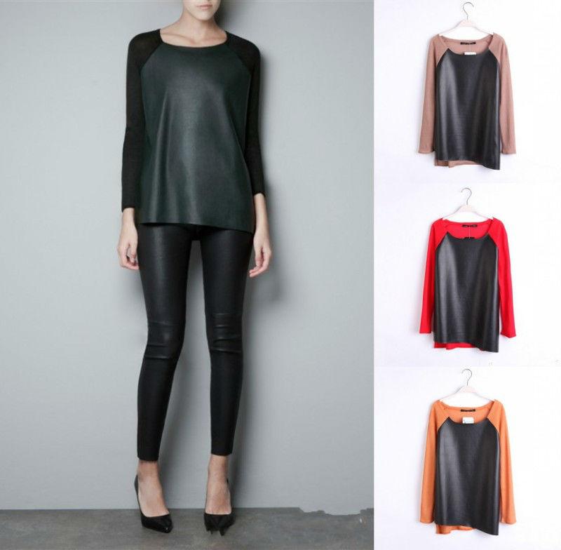 Womens pu leather knit splice round collar sweater knitwear shirt tops t shirt