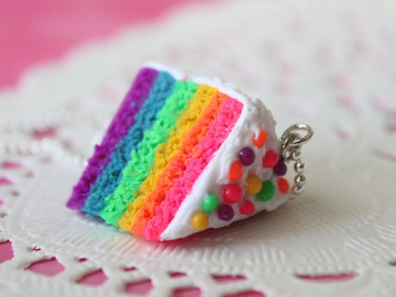 Miniature Food Jewelry  Rainbow Cake Necklace silver by Cutetreats