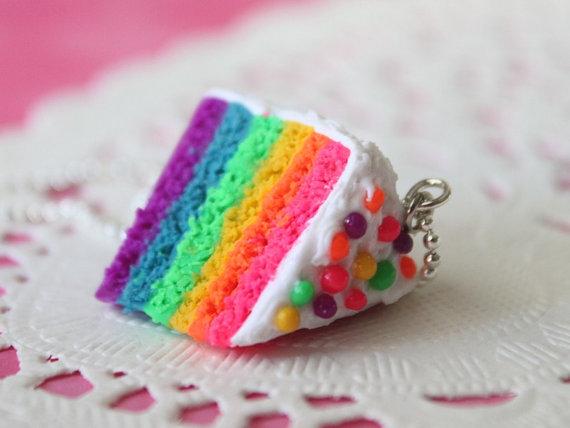 Miniature Food Jewelry  Rainbow Cake Necklace silver by Cutetreats