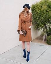 shoes,tumblr,boots,velvet,velvet boots,blue boots,coat,camel,camel coat,hat,fisherman cap