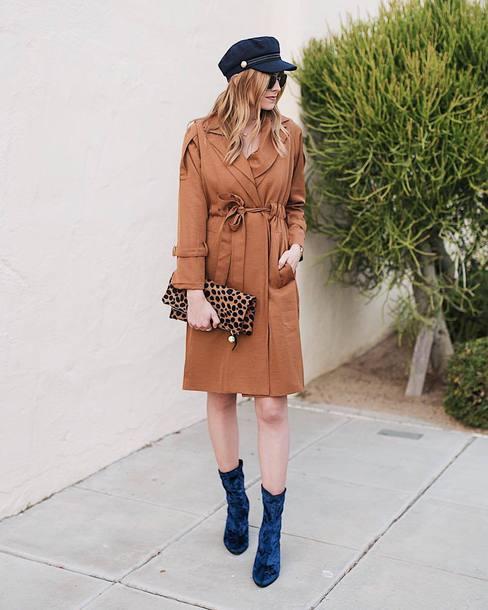shoes tumblr boots velvet velvet boots blue boots coat camel camel coat hat fisherman cap