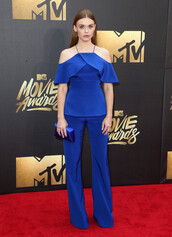 blue,two-piece,clutch,red carpet,holland roden,mtv movie awards,two piece pantsuits,blue top,blue pants