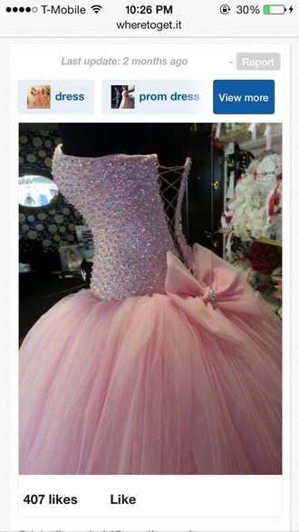 dress pink bow ball gown gown prom quincè homecoming favorites corset bead beading embroidery detail bow back