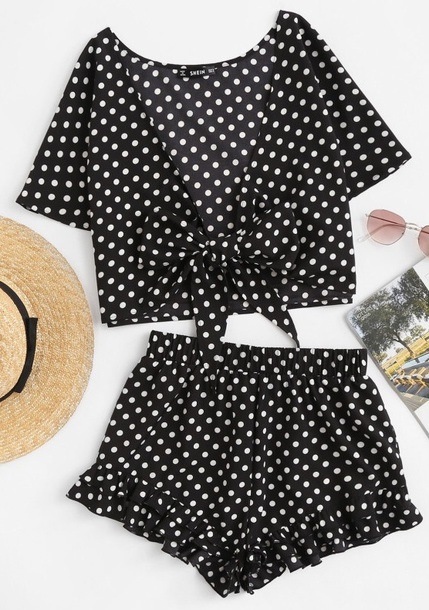 romper girly black black and white polka dots two-piece matching set crop tops crop cropped shorts cute