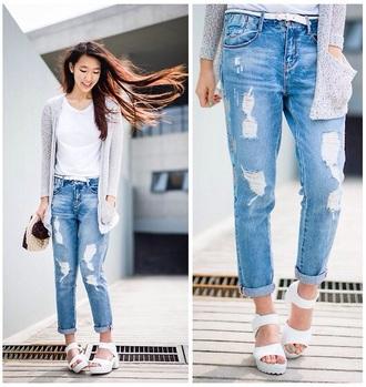jeans mode fashion love blue gaten boyfriend jeans pants skinny jeans