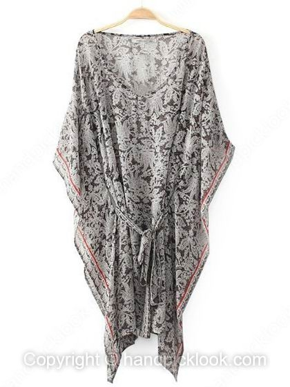 Grey Half Sleeve Exotic Belt Chiffon Dress - HandpickLook.com